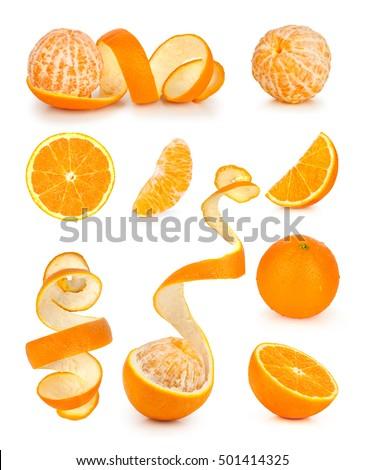 Collection of orange, slice and orange peeled skin isolated white background #501414325