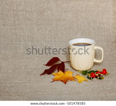 cup of coffee on vintage background autumn #501478585