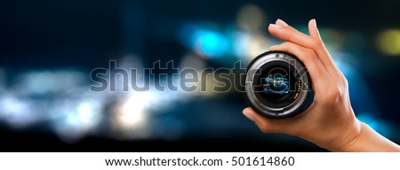 photography view camera photographer lens lense through video photo digital glass hand blurred focus people concept - stock image