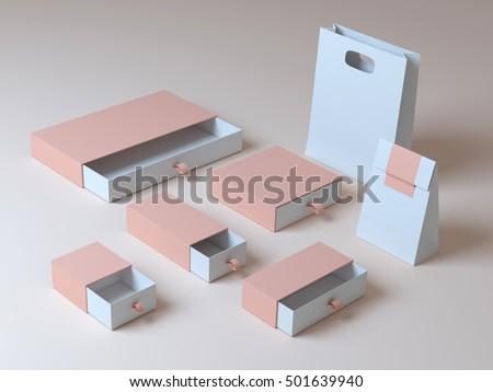 Set beige box 3d rendering #501639940