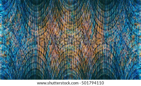 Old color grunge vintage weathered background abstract antique texture with retro pattern. Modern futuristic painted wall for backdrop or wallpaper with copy space. Close up image. 16:9 aspect ratio #501794110