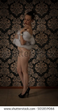 Nastya posing in heels standing in profile with a naked ass dressed in a faux fur vest #501859066