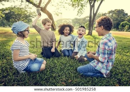 Casual Children Cheerful Cute Friends Kids Concept #501985258