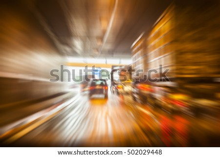 busy traffic in the city  colorful light trace #502029448