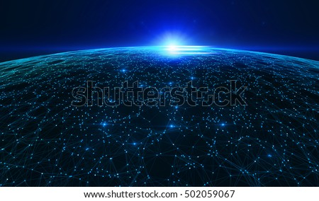 Abstract  dark background with connecting dots and lines. Connection structure digital communication. 3d illustration/Earth futuristic technology abstract background illustration. #502059067