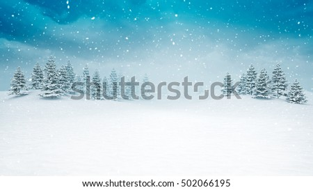 snow covered open winter landscape at snowfall, snowy trees with blue sky background 3D illustration