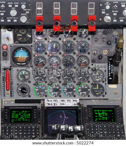 Color DSLR picture of the instruments in the cockpit of a KC-135 United States Airforce jet re-fueling tanker, with dials, levers and gauges #5022274