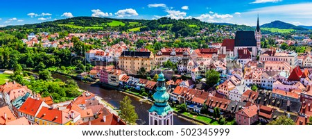 Panoramic aerial view over the old Town of Cesky Krumlov, Czech Republic. UNESCO World Heritage Site #502345999