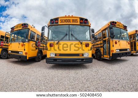Fish Eye view on parked American Buses in St. George, Utah, USA   #502408450