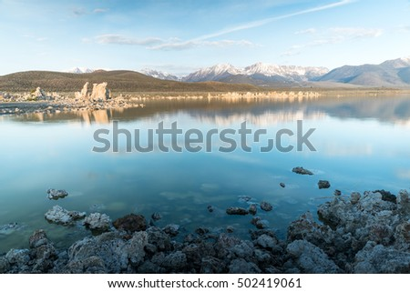Tufa fomations of Mono Lake in California USA lit by morning light #502419061