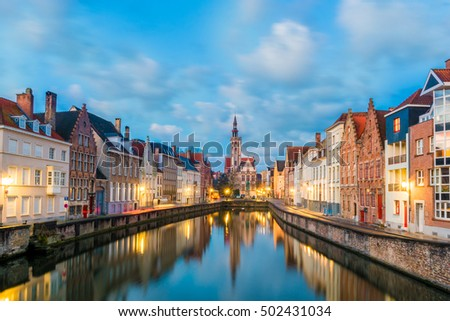 Spiegelrei canal and Jan Van Eyck Square in the morning in Bruges, Belgium #502431034