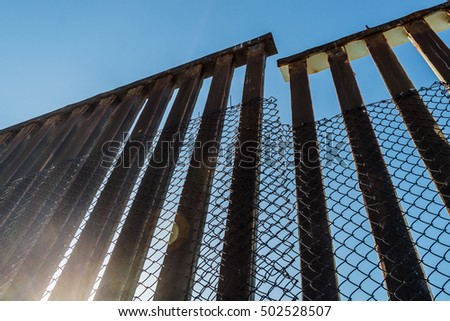 A section of the border fence separating San Diego, California and Tijuana, Mexico. #502528507