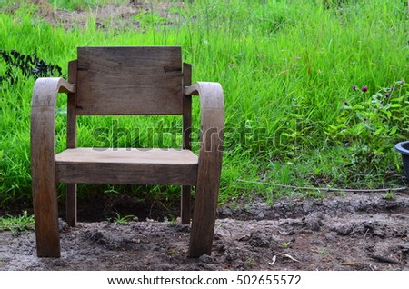 Wood Chair in field asia #502655572