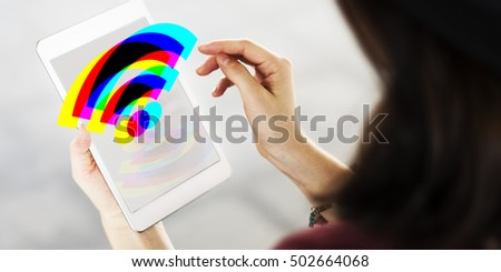 Technology Gadget Application Icons Signs Concept #502664068