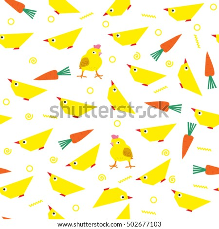 Children's seamless vector pattern or pattern for the kitchen. Pattern with chickens and carrots. Wallpaper with chickens vector #502677103