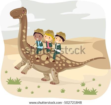 Stickman Illustration of Kids in Safari Uniform Riding an Argentinosaurus Through the Desert #502721848