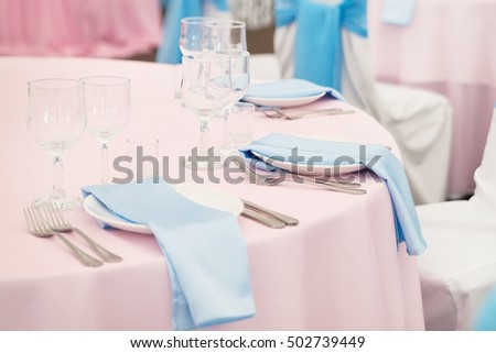 Setting table in restaurant. Event, wedding #502739449