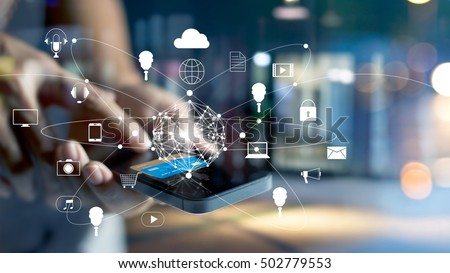 Man using mobile payments online shopping and icon customer network connection on screen, m-banking and omni channel  Royalty-Free Stock Photo #502779553