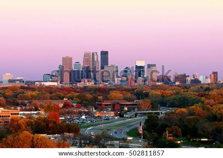 Minneapolis Skyline during Autumn at Sunset from Plymouth, Minnesota