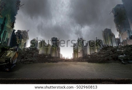 City destroyed by war Royalty-Free Stock Photo #502960813