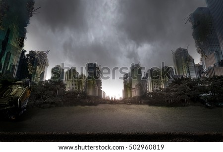 City destroyed by war Royalty-Free Stock Photo #502960819