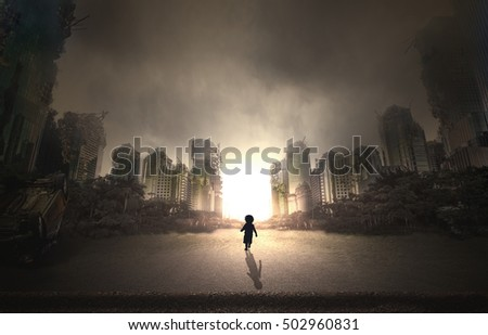 destroyed city and a walking child #502960831
