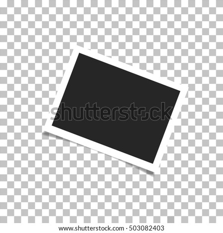 Realistic photo frame with shadow on plaid background #503082403