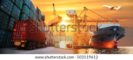 Logistics and transportation of Container Cargo ship and Cargo plane with working crane bridge in shipyard at sunrise, logistic import export and transport industry background Royalty-Free Stock Photo #503119612