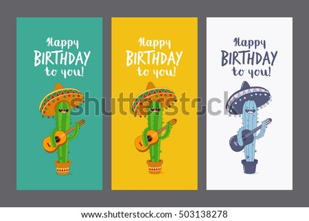 Greeting card Happy Birthday. Funny cactus in sombrero with a guitar wishes you a happy birthday. Comic characters. Vector illustration.