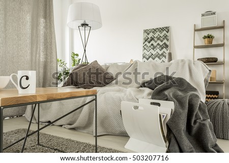 Cozy home interior with sofa, table and newspaper holder #503207716