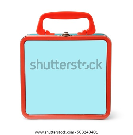 Front view of tin lunch box isolated on white #503240401