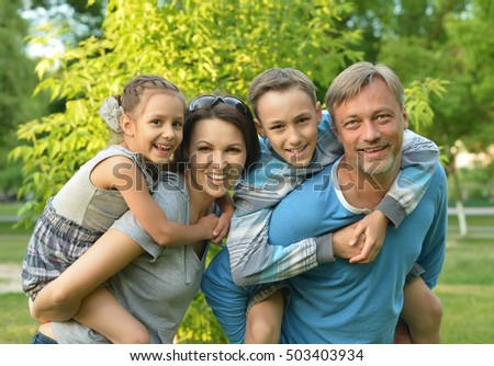 Family resting in  summer park #503403934