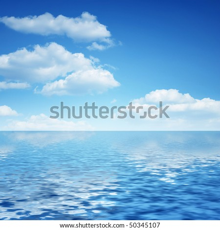 clouds and reflection in blue water #50345107