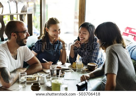Group Of People Drinking Coffee Concept #503706418