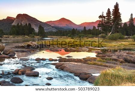 Autumn sunset at Tuolumne Meadow on Tioga Pass, Yosemite National Park. Landscape Photography