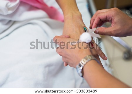 The process of blood collection on laboratory room, Nurse checking before collecting a blood from patient.   #503803489