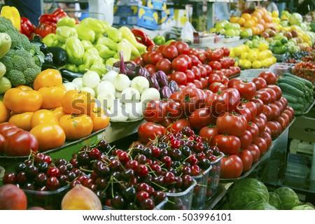 Fresh vegetables and fruits on farmer agricultural market #503996101