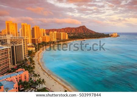 Honolulu, Hawaii. Skyline of Honolulu, Diamond Head volcano including the hotels and buildings on Waikiki Beach.
