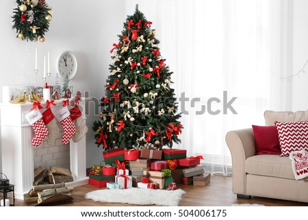 Decorated Christmas room with beautiful fir tree #504006175