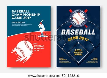 Baseball game modern sports posters design. Vector illustration.