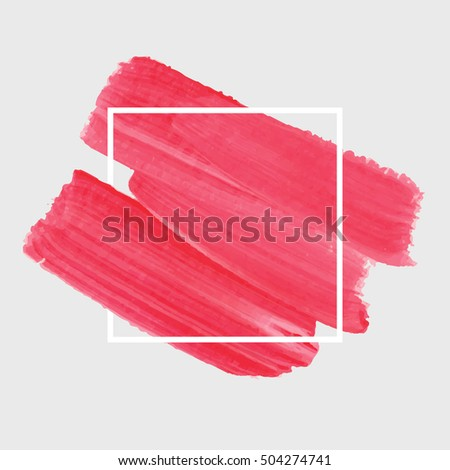 Textured brush painted watercolor logo background over square frame vector illustration. Abstract art design acrylic stroke backdrop. Perfect design for headline, logo and sale banner.  #504274741