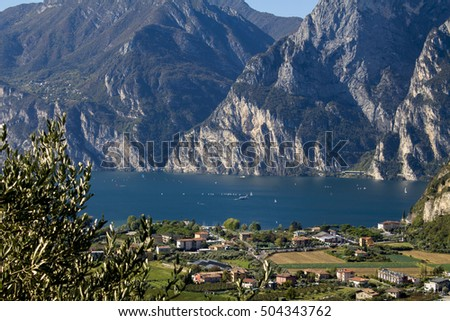 lake Garda in Italy , a panorama from a height #504343762