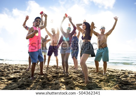 Diverse Young People Fun Beach Concept #504362341