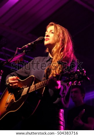 The Engine Rooms Southampton - October 22rd 2016: Catherine Ward Thomas of British country music duo Ward Thomas performing at Engine Rooms, Southampton, October 22 2016 in Southampton, Hampshire, UK #504383716