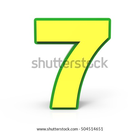 3d rendering Christmas number 7 isolated on white background, yellow number with green frame