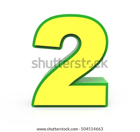 3d rendering Christmas number 2 isolated on white background, yellow number with green frame