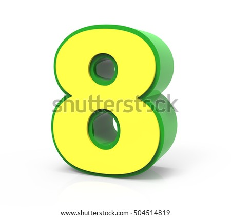 3d rendering Christmas number 8 isolated on white background, yellow number with green frame, righting leaning