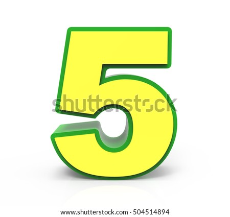 3d rendering Christmas number 5 isolated on white background, yellow number with green frame