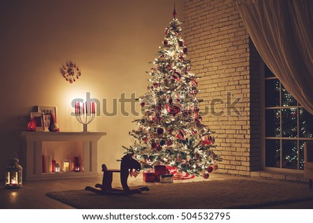 Feast of Christmas. Beautifully decorated house with a Christmas tree ipodarkami underneath #504532795