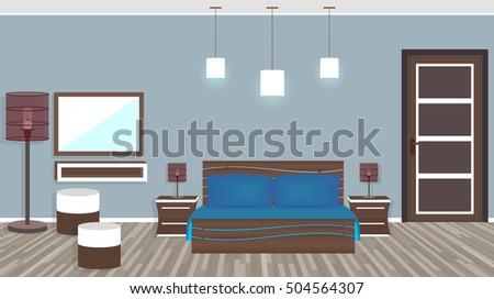 Modern living room in hotel. Flat style vector illustration #504564307